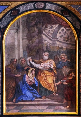 altarpiece: The Presentation of Jesus in the Temple, altarpiece in the Franciscan Church of the Annunciation in Ljubljana, Slovenia Editorial