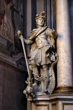 st nicholas cathedral: Saint George, statue on the altar in the St Nicholas Cathedral in Ljubljana, Slovenia