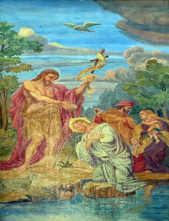 battesimo: Battesimo del Signore, affresco sulla facciata della cattedrale di San Nicola nella capitale di Lubiana, Slovenia