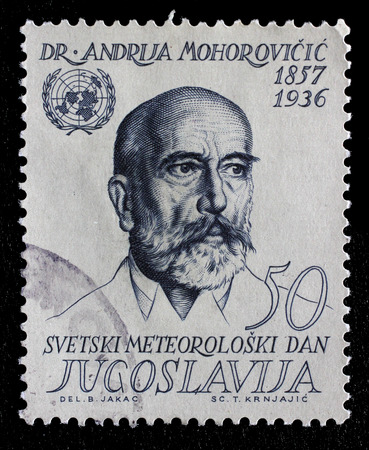 Stamp printed in Yugoslavia shows Andrija Mohorovicic 23 January 1857  18 December 1936 was a Croatian meteorologist and seismologist, circa 1963