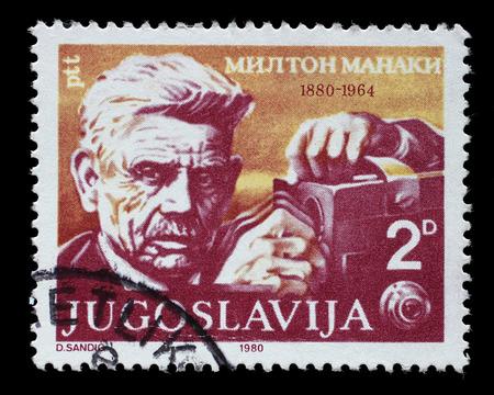 Stamp printed in Yugoslavia shows The 100th Anniversary of the Birth of Milton Manaki1880-1964, cinematographer, circa 1980. Editorial