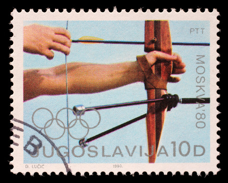 the olympic games: Stamp printed in Yugoslavia shows Archery competition, Olympic games in Moscow, circa 1980