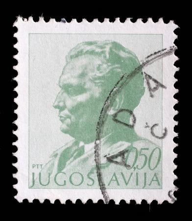 marshal: Stamp printed in Yugoslavia shows portrait of Marshal Josip Broz Tito, circa 1974