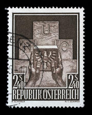 symbolic: Stamp printed in the Austria shows Symbolic of Austrias Admission to the UN, circa 1956 Stock Photo