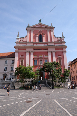 franciscan: Franciscan Church of the Annunciation on Preseren Square in Ljubljana, Slovenia Editorial