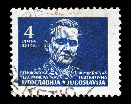 yugoslavia federal republic: Stamp printed in Federal Democratic Republic of Yugoslavia shows Marshal Josip Broz Tito