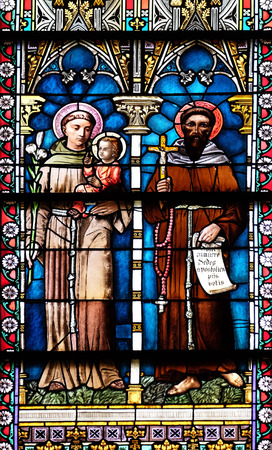 Stained glass window in Cathedral of St Nicholas in Novo Mesto, Slovenia