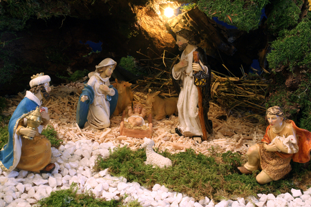 infant jesus: Exhibition of Christmas mangers at the monastery of the Sisters Servants of the Infant Jesus in Zagreb, Croatia on December 17, 2014 Stock Photo