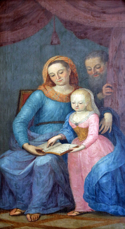 altarpiece: Blessed Virgin Mary with her parents St. Anne and St. Joachim, altarpiece in parish Church of the Immaculate Conception of the Virgin Mary in Lepoglava, Croatia
