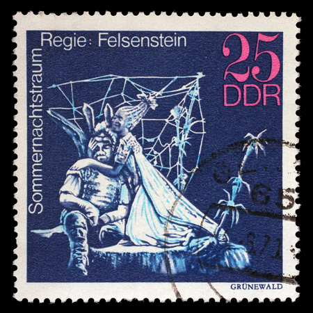 gdr: Stamp printed in GDR shows Midsummer Marriage, Staged by Walter Felsenstein, Great Theatrical Production, circa 1973 Editorial