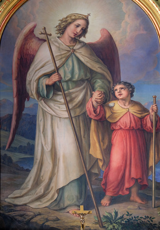 guardian angel: Ángel de la guarda, retablo de la basílica del Sagrado Corazón de Jesús en Zagreb, Croacia