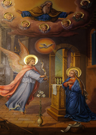 annunciation of mary: Annunciation of the Virgin Mary, fresco in the Franciscan Church of the Annunciation in Ljubljana, Slovenia