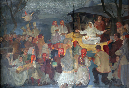 bible shepherd: Birth of Jesus, altarpiece in parish church of Saint Mark in Zagreb, Croatia