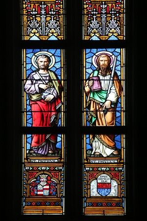 Saint Peter and Paul, stained glass window in parish church of Saint Mark in Zagreb, Croatia Editorial