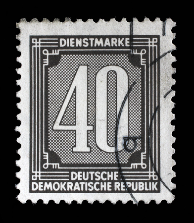 stempel: Stamp printed in GDR shows numeric value, circa 1956. Stock Photo