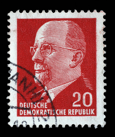 statesman: Stamp printed in German Democratic Republic - East Germany shows Chairman Walter Ulbricht communist politician, first secretary of Socialist Unity Party, leader, circa 1961