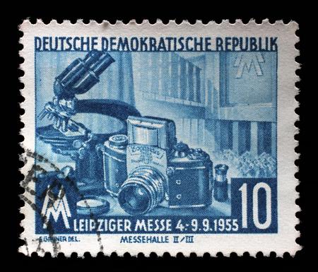 gdr: Stamp printed in GDR shows Leipzig Autumn Fair, circa 1960