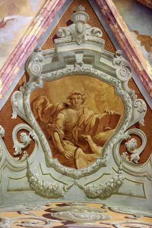 evangelist: Saint John the Evangelist, fresco in parish Church of the Immaculate Conception of the Virgin Mary in Lepoglava, Croatia