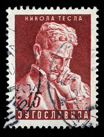 futurist: Stamp printed in the Yugoslavia shows Nikola Tesla, Inventor, 10th Anniversary of the Death, circa 1953