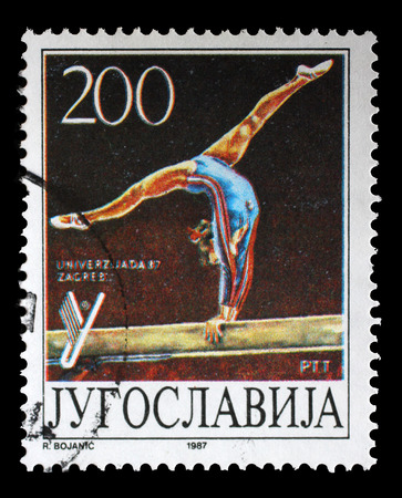 yugoslavia: Stamp printed by Yugoslavia shows Gymnastics, Universiade in Zagreb, circa 1987.
