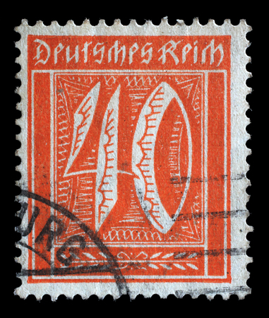 philatelic: Stamp printed in Germany shows numeric value, circa 1921.