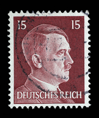 adolf hitler: Stamp printed in Germany shows image of Adolf Hitler, series, 1941. Editorial