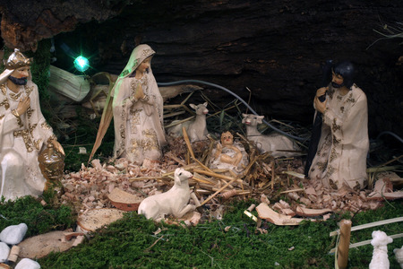 lamb of god: Exhibition of Christmas mangers at the monastery of the Sisters Servants of the Infant Jesus in Zagreb, Croatia on December 17, 2014 Editorial