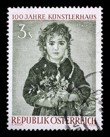 anton: Stamp printed in the Austria shows Girl, Painting by Anton Romako, Centenary of Society of Creative Artists, Kunstlerhaus, Vienna, circa 1961 Stock Photo