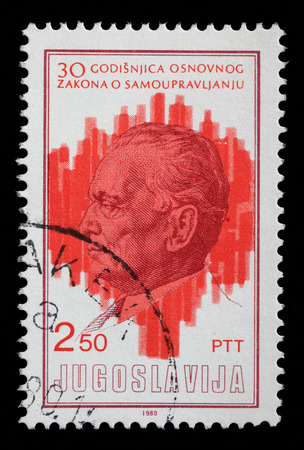 governing: Stamp printed by Yugoslavia dedicated to the 30th anniversary of the Ground Principles of Self Governing System, circa 1980. Stock Photo