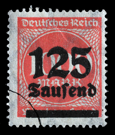 billions: Stamp printed in Germany shows numeric value, circa 1923. Editorial