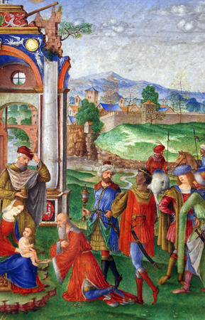adoration: Matteo da Milano: miniatures from the breviary of Alfonso I dEste: Adoration of the Magi