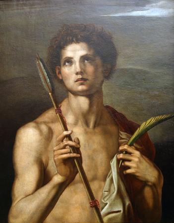 according: According to Andrea del Sarto: St. Sebastian