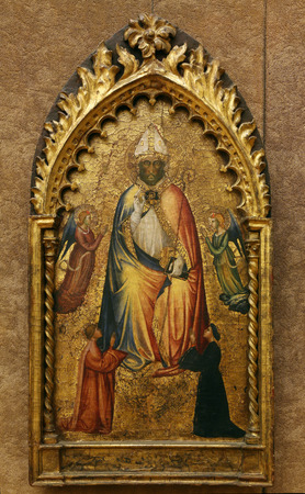 maestro: Maestro di San Martino a Mensola: St. Nicholas with angels and donors