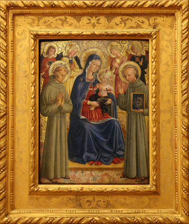 st  francis: Bartolommeo Caporali: Madonna and Child with St. Francis and Bernardine