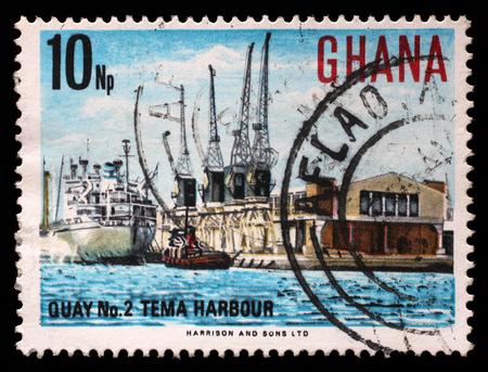 circa: Stamp printed in Ghana shows Tema Harbour, National Symbols, circa 1967.