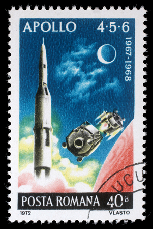 4 5: Stamp printed in the Romania shows Apollo 4, 5 and 6, Highlights of US Apollo Space Program, circa 1972