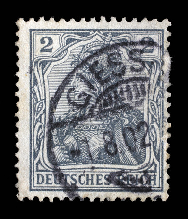 allegory: Stamp printed in Germany shows Germania Allegory, Personification of Germany, without inscription, series Germanania, circa 1900 Editorial
