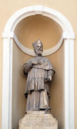 ljubljana: Tomaz Hren, bishop of Ljubljana on the facade of St Nicholas Cathedral in Ljubljana, Slovenia Editorial