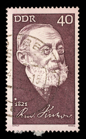 Stamp printed in GDR shows The 150th Anniversary of the Birth of Rudolf Virchow. Anthropologist , circa 1971