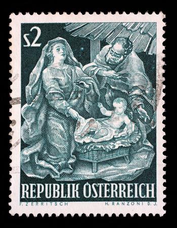 guarder�a: Sello impreso en Austria, muestra una guarder�a barroco de Josef Thadd�us Stammel, Navidad, alrededor del a�o 1963