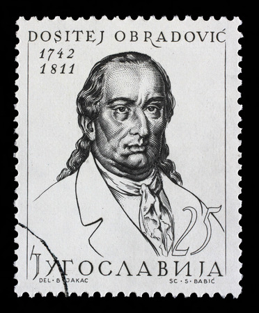 philosopher: Stamp printed in Yugoslavia shows Dositej Obradovic 17 February 1739  7 April 1811 was a Serbian philosopher, linguist, polyglot and the first minister of education of Serbia, circa 1963