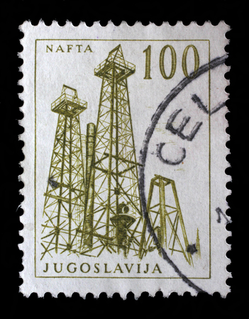 nafta: Stamp printed in Yugoslavia shows a Oil derricks, Nafta, with the same inscription, from series Industrial Progress circa 1958