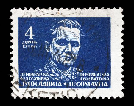marshal: Stamp printed in Federal Democratic Republic of Yugoslavia shows Marshal Josip Broz Tito, circa 1945 Editorial