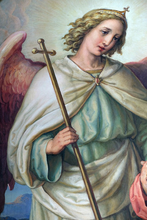 Guardian angel, altarpiece in the Basilica of the Sacred Heart of Jesus in Zagreb, Croatia Editorial
