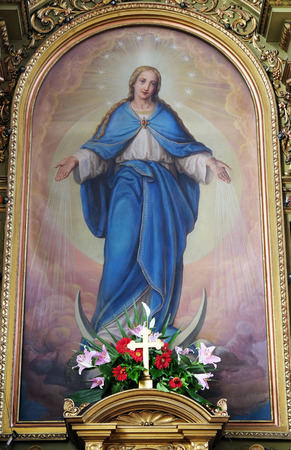 altarpiece: Virgin Mary altarpiece in the Basilica of the Sacred Heart of Jesus in Zagreb, Croatia Editorial
