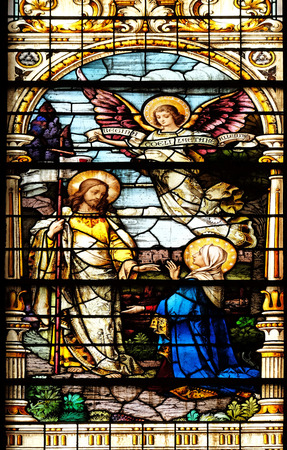 appears: Jesus appears to his mother, stained glass window in the Basilica of the Sacred Heart of Jesus in Zagreb, Croatia