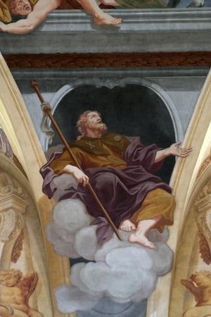 apostle: Saint James the Apostle, fresco on the ceiling  of the Cathedral of St Nicholas in Ljubljana, Slovenia Editorial