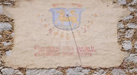 Sundial, Cathedral of St Nicholas in Novo Mesto, Slovenia