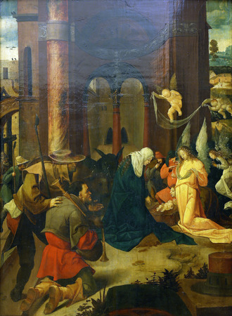carrying the cross: Master of carrying the cross from Douija Master J. Kock: Birth and Adoration of the Shepherds, Old Masters Collection, Croatian Academy of Sciences, December 08, 2014 in Zagreb, Croatia Editorial