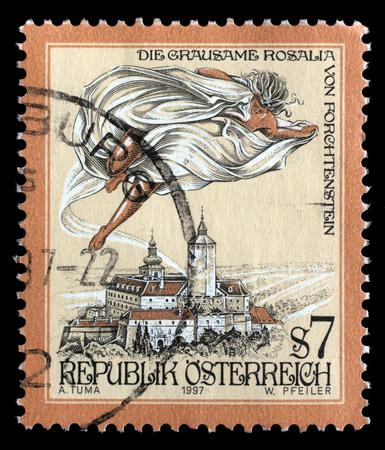 cruel: Stamp printed in the Austria shows The Cruel Lady of Forchtenstein Castle, Burgenland, circa 1997